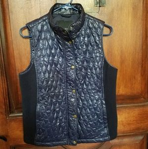 Talbots glossy navy quilted & ribbed vest